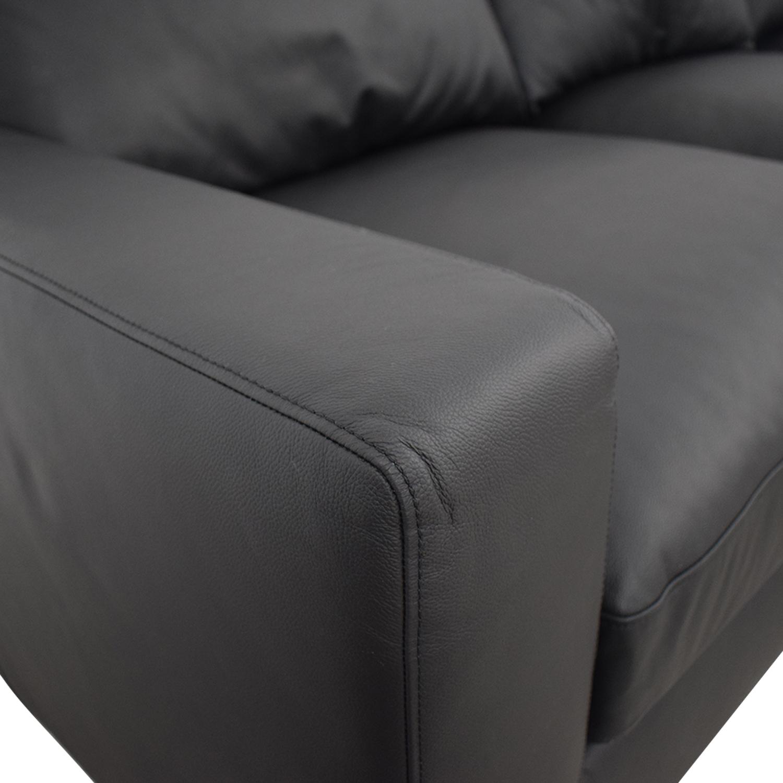 Interior Define Sloan Dark Gray Leather Three-Cushion Sofa with Ottoman discount
