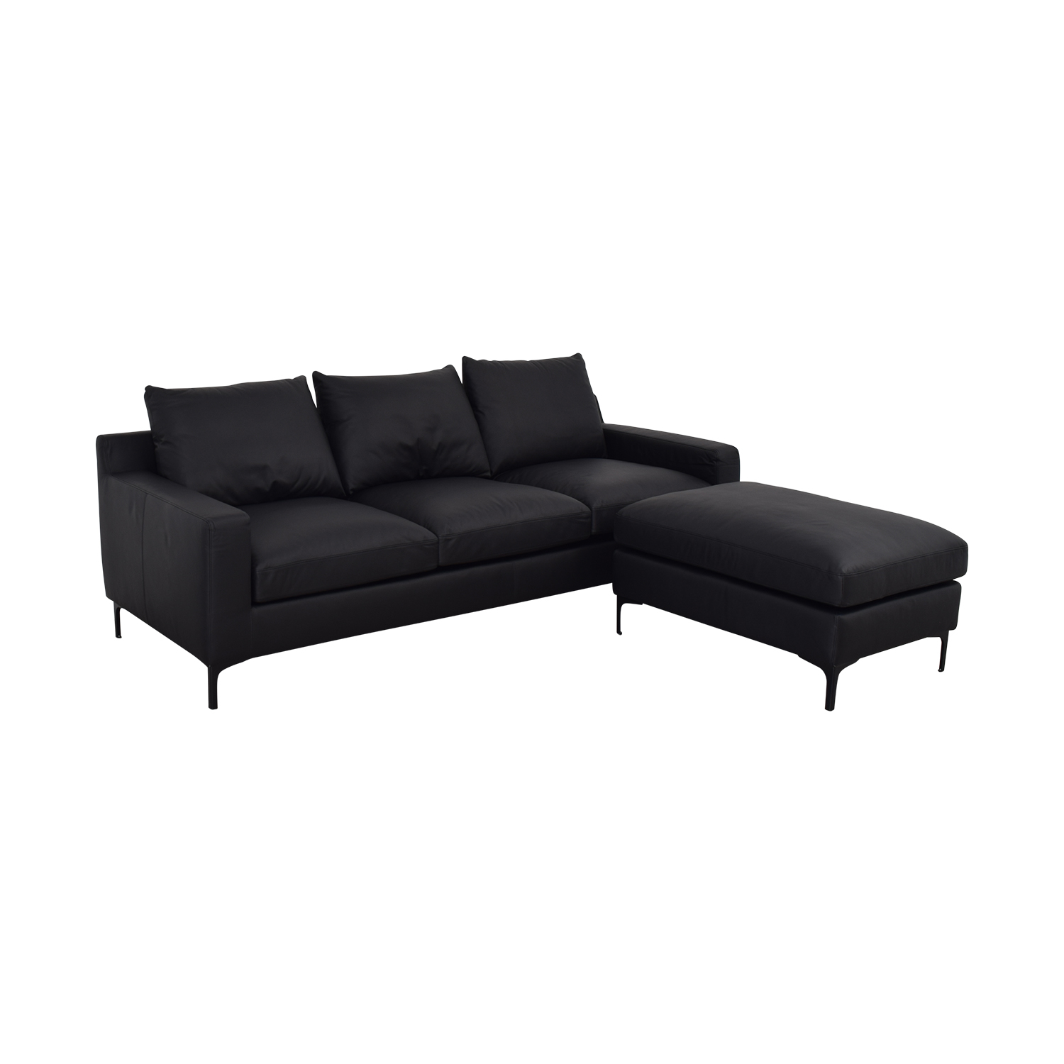 shop Sloan Dark Gray Leather Three-Cushion Sofa with Ottoman Interior Define Classic Sofas