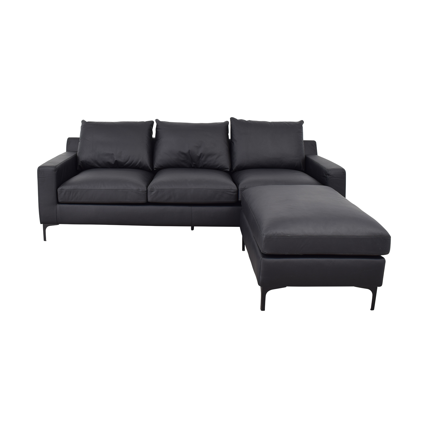 Sloan Dark Gray Leather Three-Cushion Sofa with Ottoman / Sofas