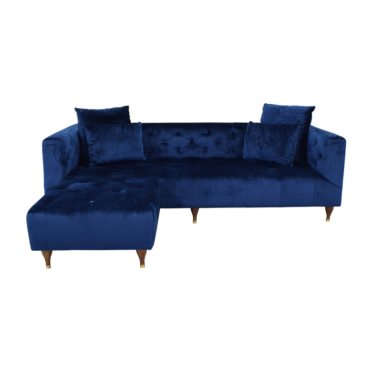 shop Ms. Chesterfield Velvet Oxford Blue Tufted Sofa with Ottoman Interior Define Sofas