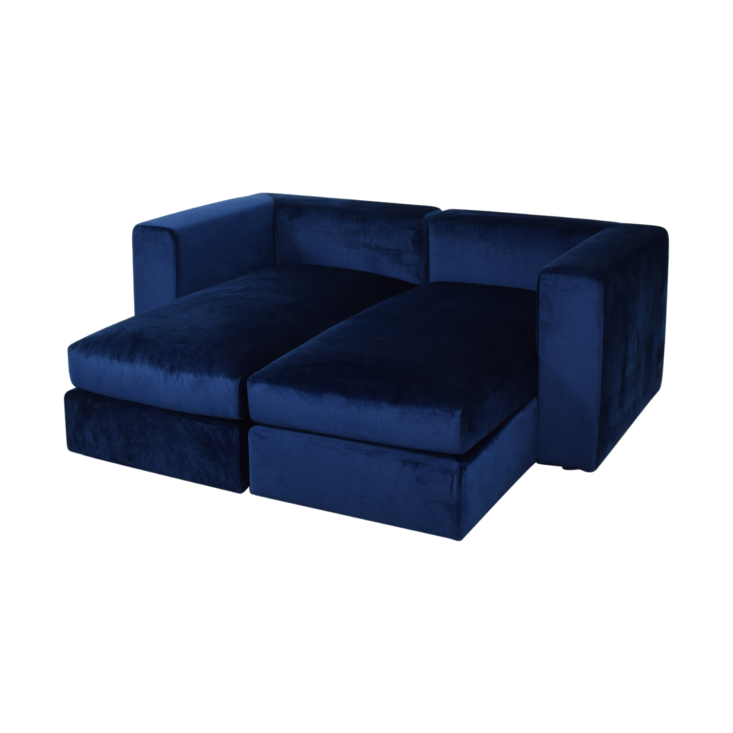 69% OFF   Toby Velvet Oxford Blue Double Chaise Sectional Sofa / Sofas