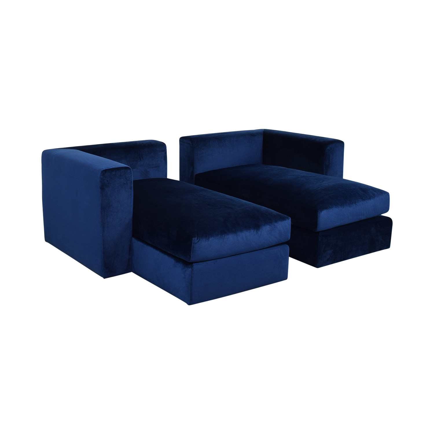 Interior Define Toby Velvet Oxford Blue Double Chaise Sectional Sofa