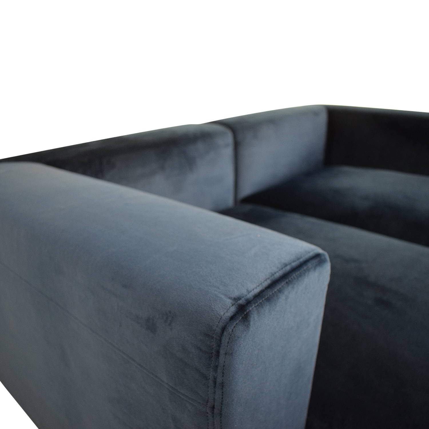 Interior Define Toby Velvet Oxford Blue Double Chaise Sectional Sofa used