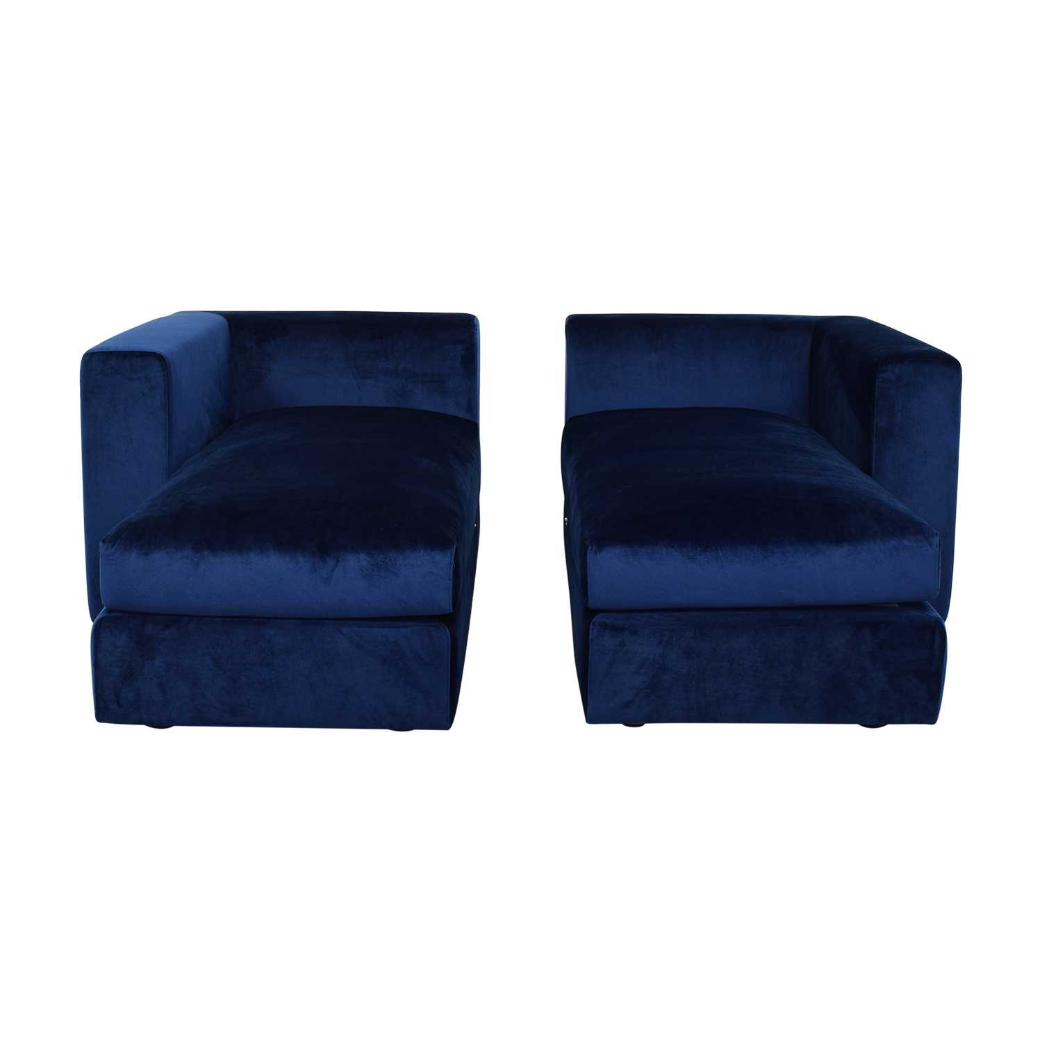 Interior Define Toby Velvet Oxford Blue Double Chaise Sectional Sofa dimensions