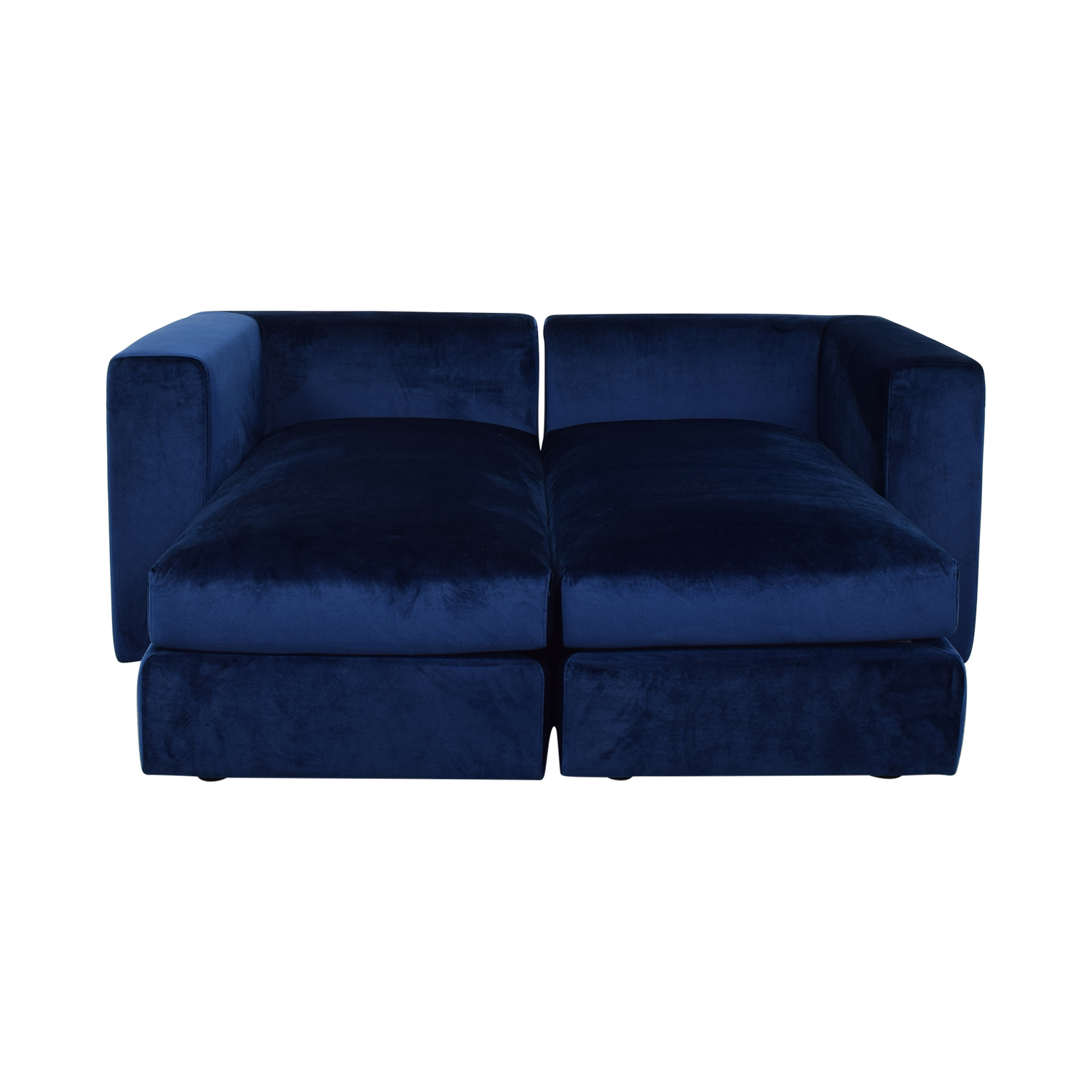 Interior Define Toby Velvet Oxford Blue Double Chaise Sectional Sofa discount