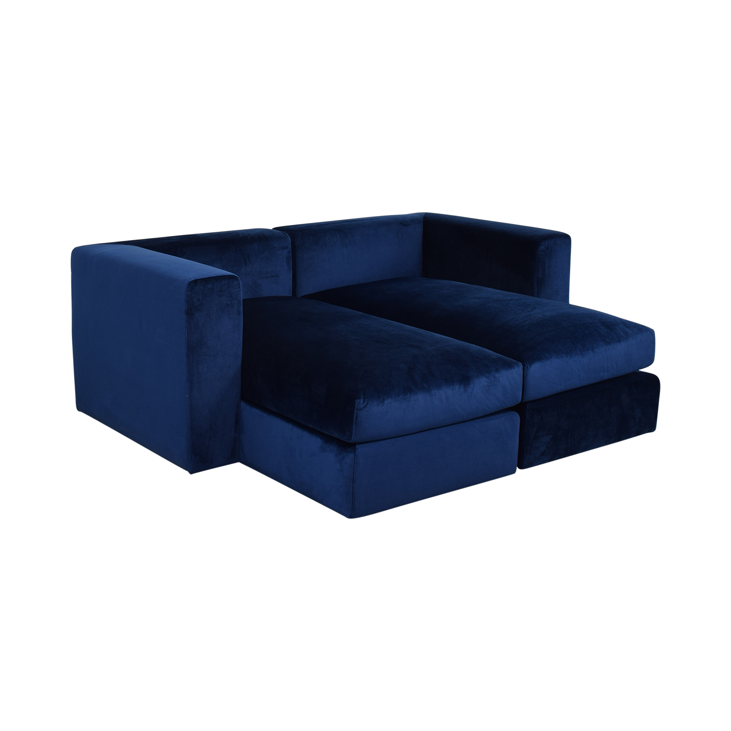 Interior Define Toby Velvet Oxford Blue Double Chaise Sectional Sofa on sale