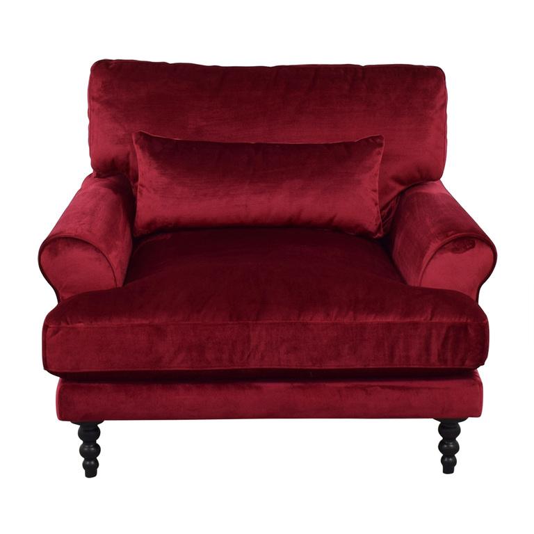 Interior Define Maxwell Mod Velvet Garnet Oversized Accent Chair nj