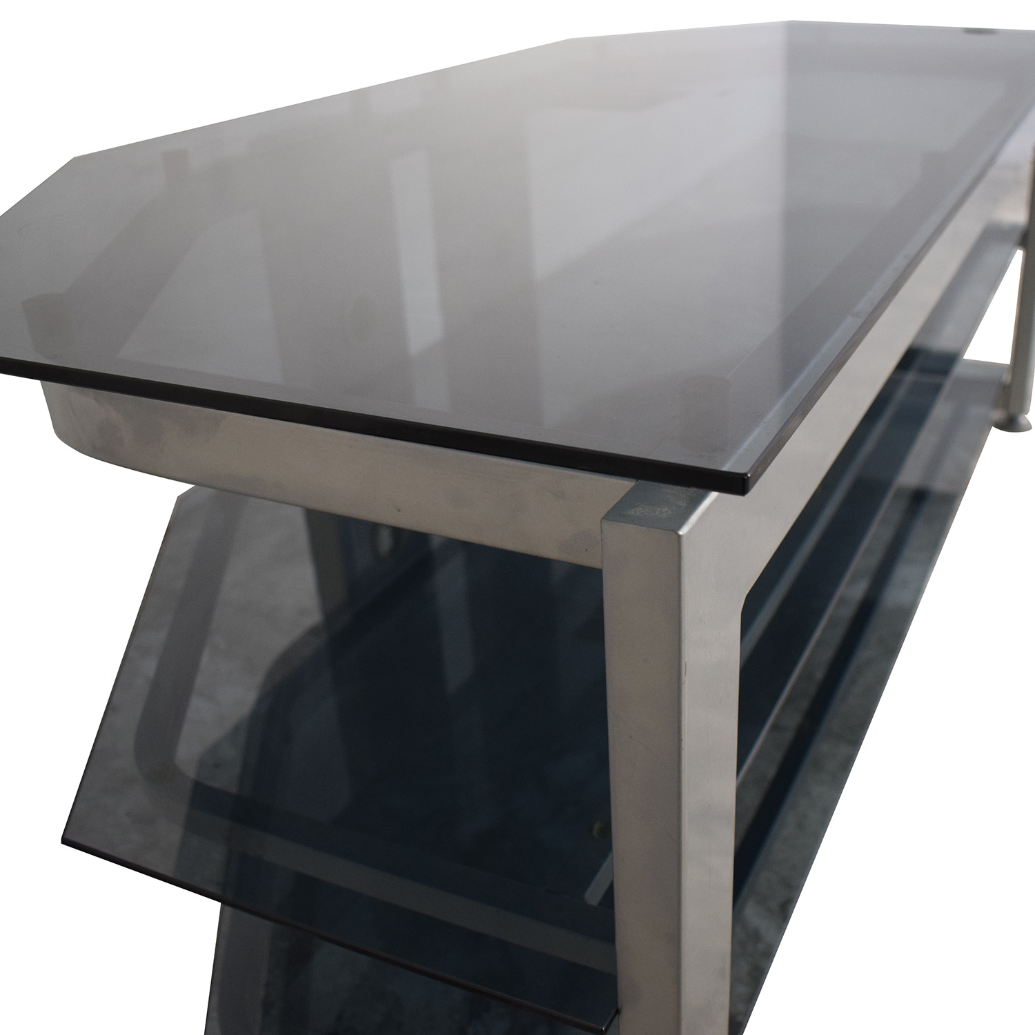 shop Bush Furniture Glass and Grey TV Stand Bush Furniture