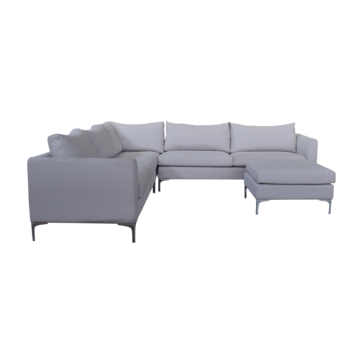 Owens Grey L-Shaped Sectional with Ottoman / Sectionals