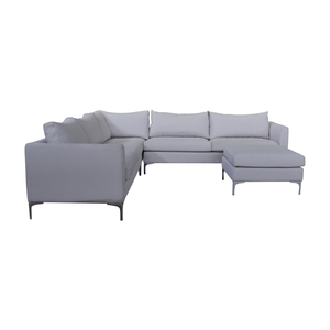 Interior Define Owens Grey L-Shaped Sectional with Ottoman nyc