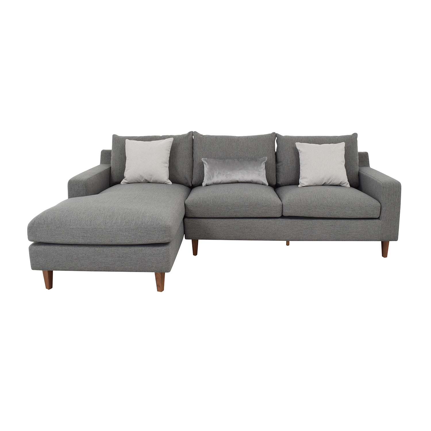 shop Interior Define Sloan Light Gray Mushroom Cross Weave Left Arm Chaise Sectional online