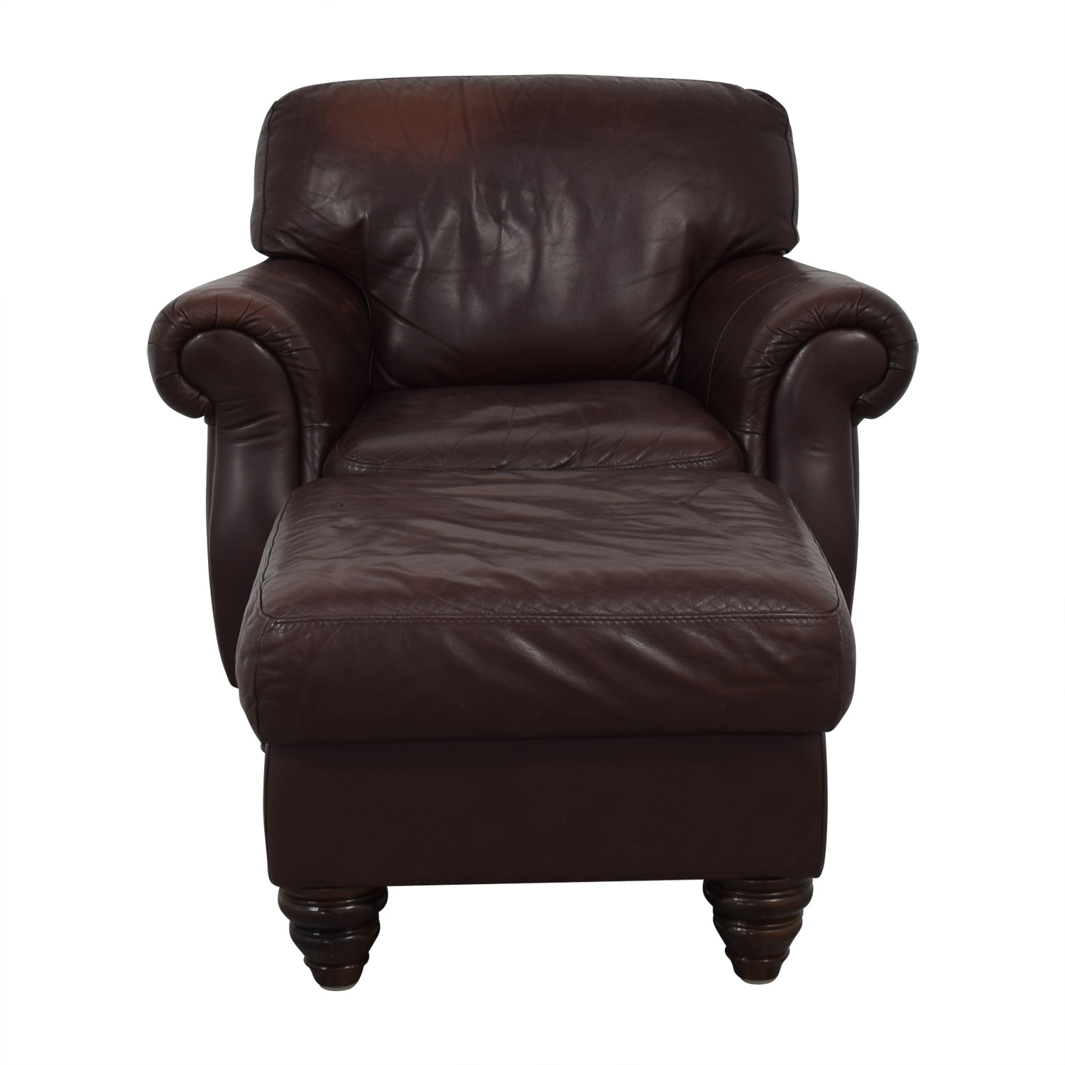 Fortunoff Fortunoff Brown Accent Chair and Ottoman for sale