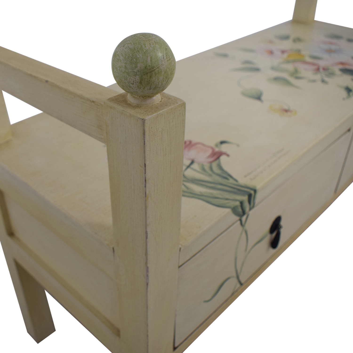 Decorative Floral Two-Drawer Bench dimensions