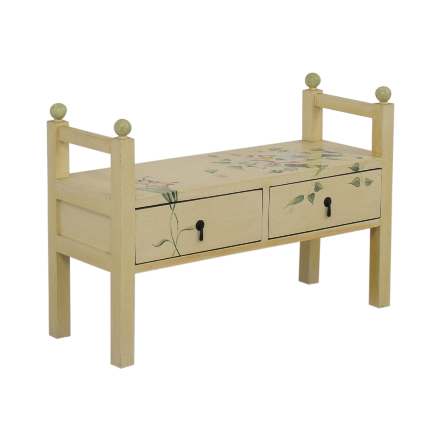 Decorative Floral Two-Drawer Bench