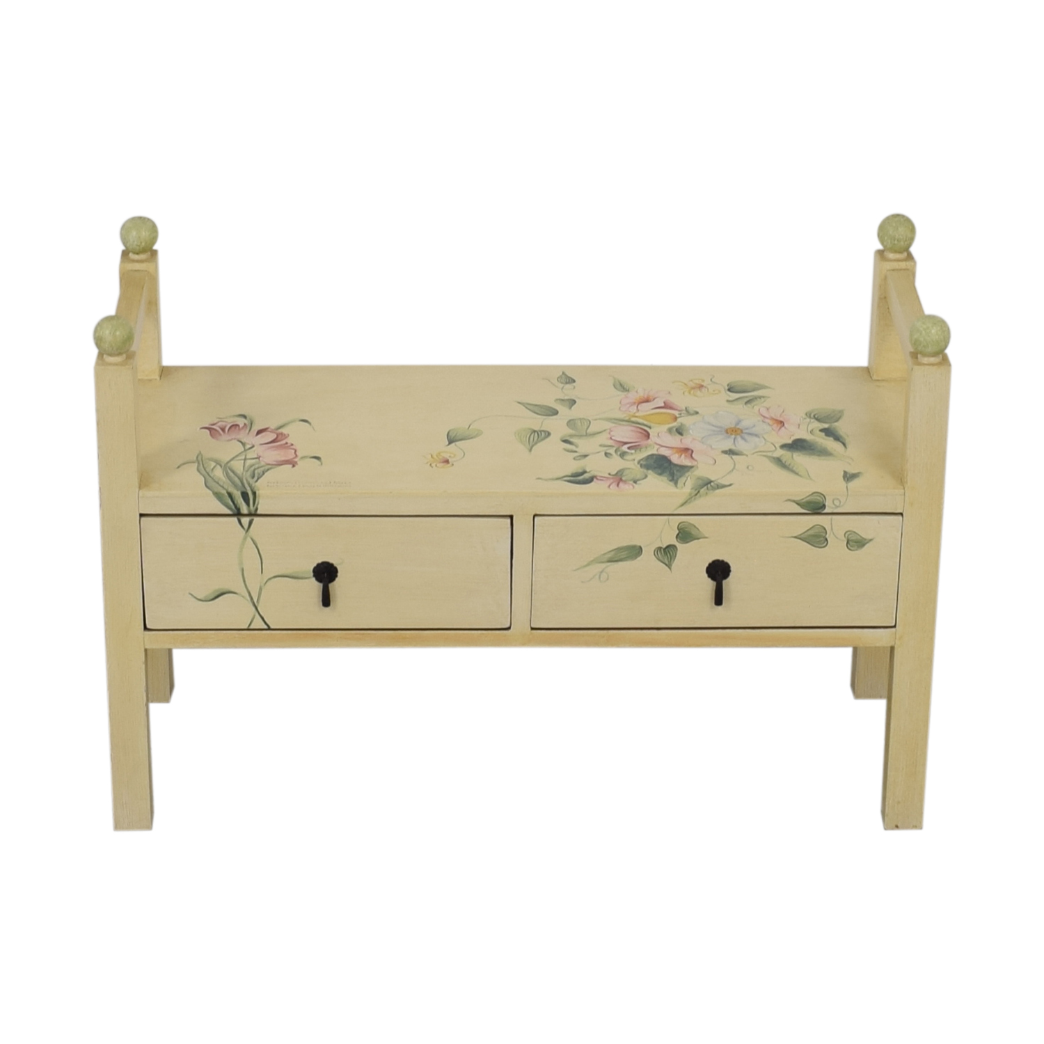 buy Decorative Floral Two-Drawer Bench