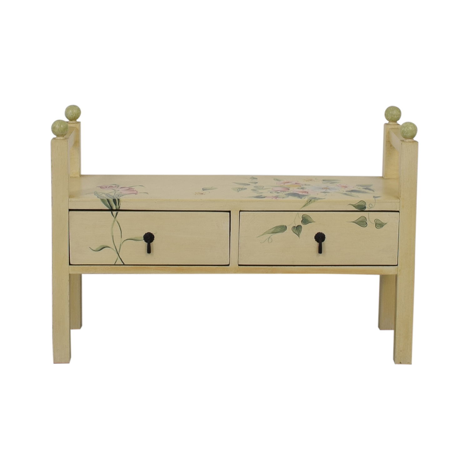 shop Decorative Floral Two-Drawer Bench  Benches