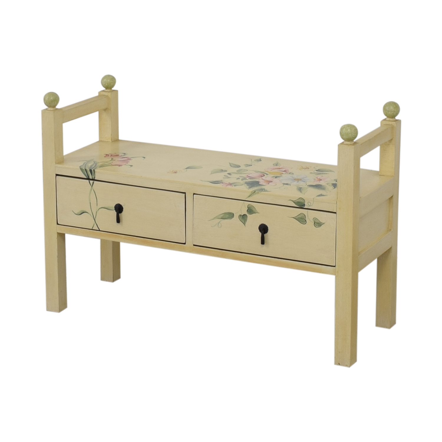 Decorative Floral Two-Drawer Bench on sale