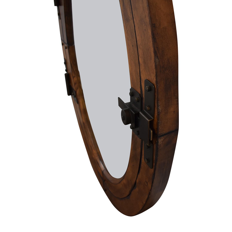 Pottery Barn Wooden Framed Oval Porthole Mirror sale