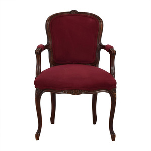 Burgundy Flannel Arm Chair for sale