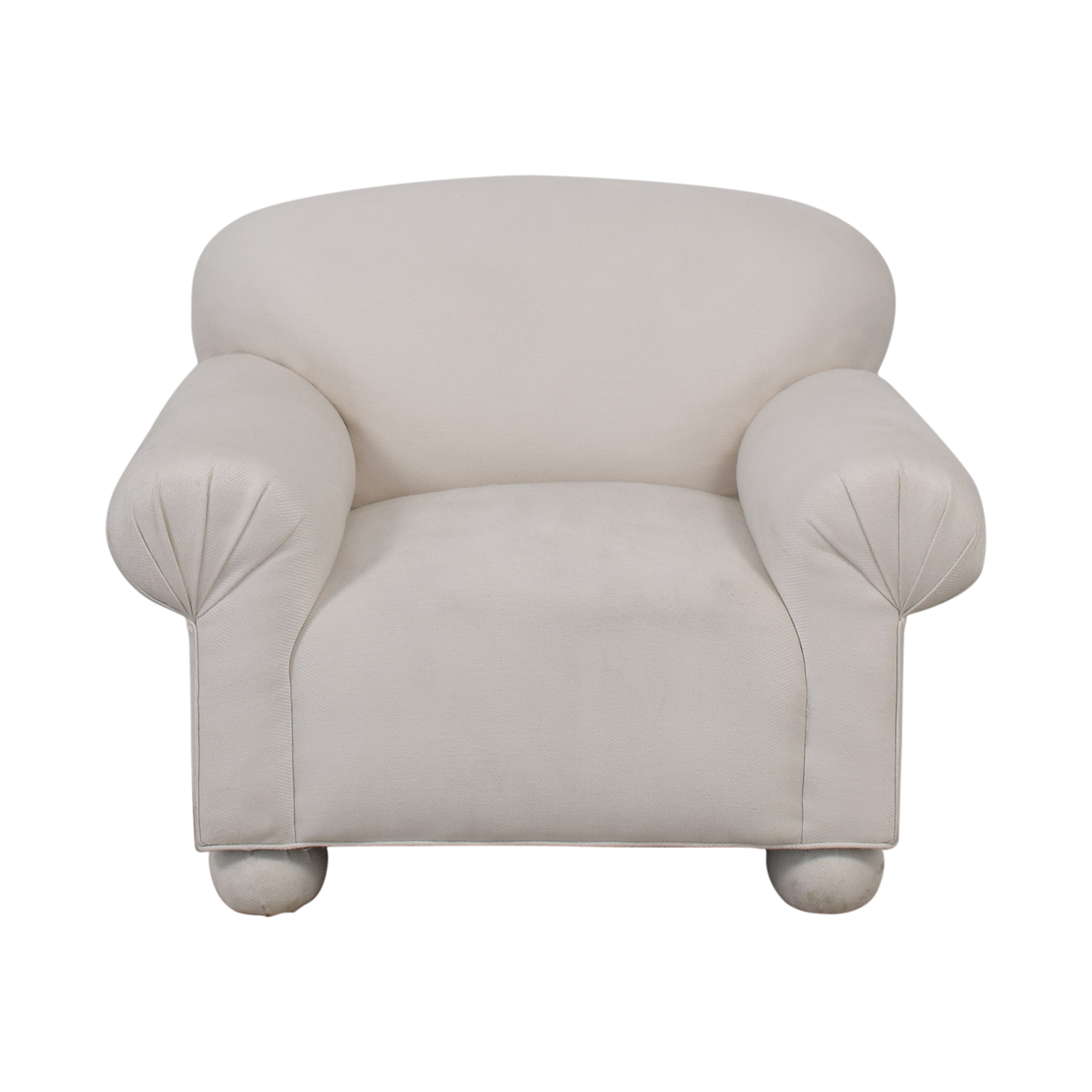 White Roll Arm Accent Chair white