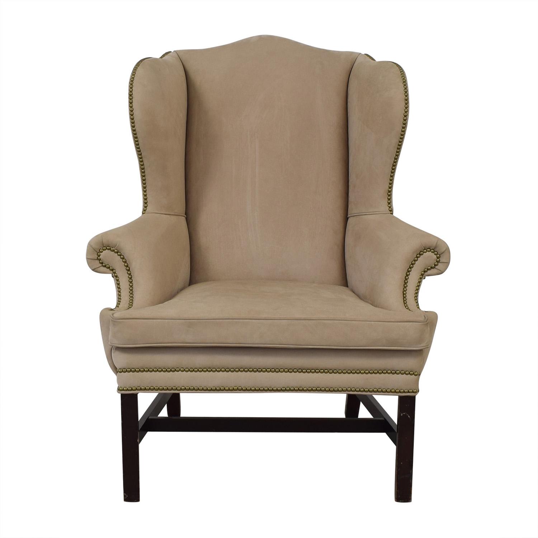 shop Ralph Lauren Home Beige Nailhead Wingback Chair Ralph Lauren Home Chairs