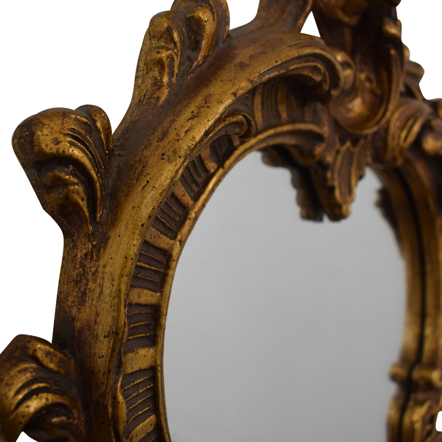 Distressed Gold Framed Wall Mirror discount