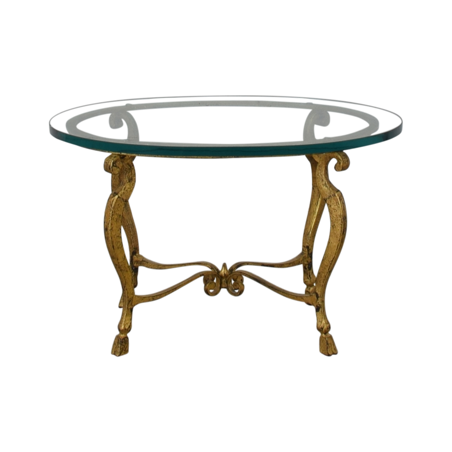 Distressed Oval Bronze Base and Glass End Table