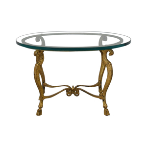 Distressed Oval Bronze Base and Glass End Table coupon