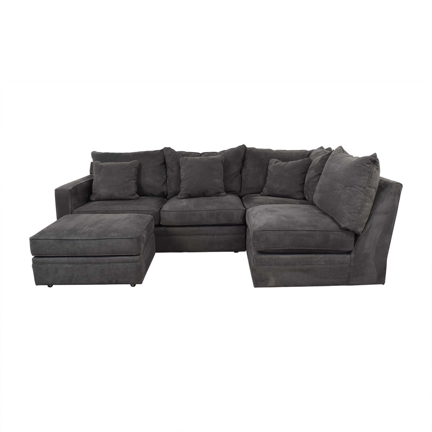 shop Room & Board Orson Grey L-Shaped Sectional with Ottoman Room & Board Sofas