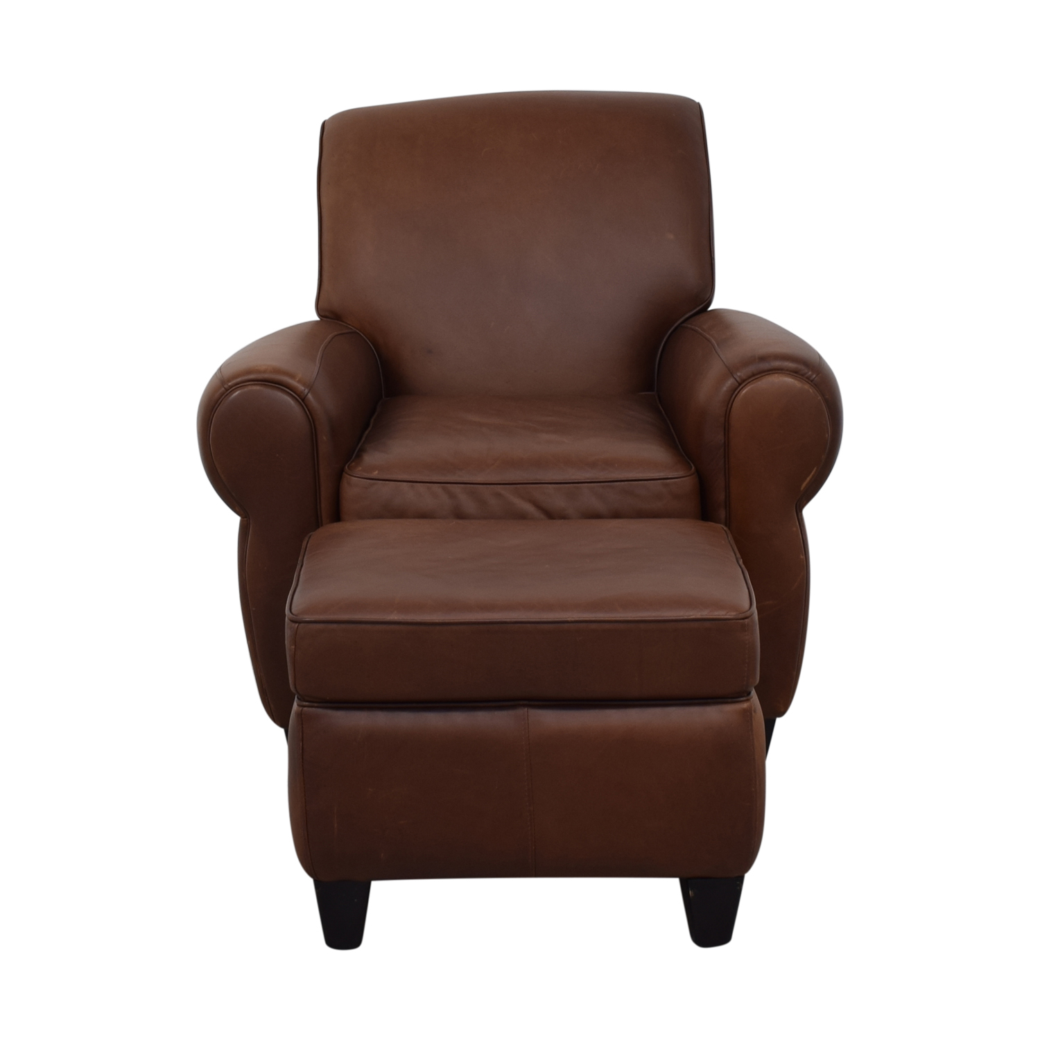 buy Ballard Designs Paris Cognac Chair and Ottoman Ballard Designs