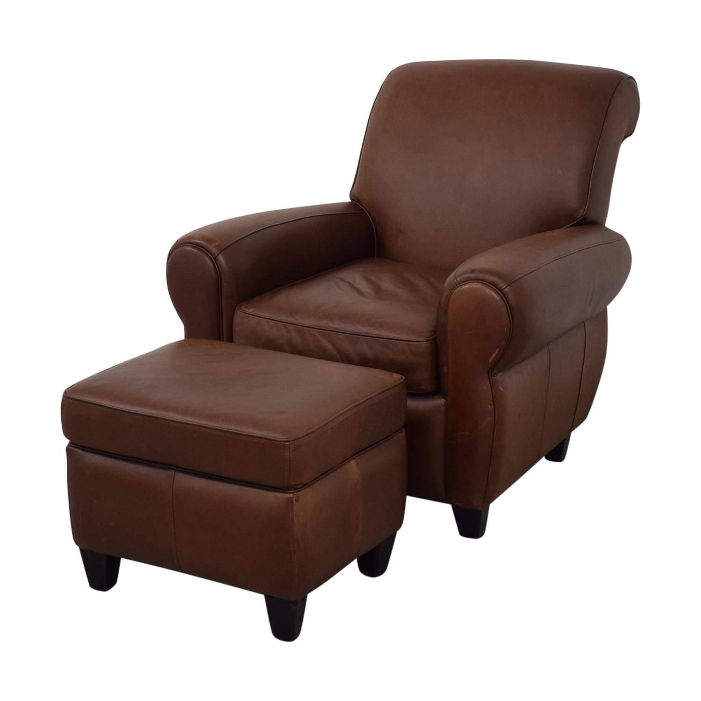 buy Ballard Designs Paris Cognac Chair and Ottoman Ballard Designs