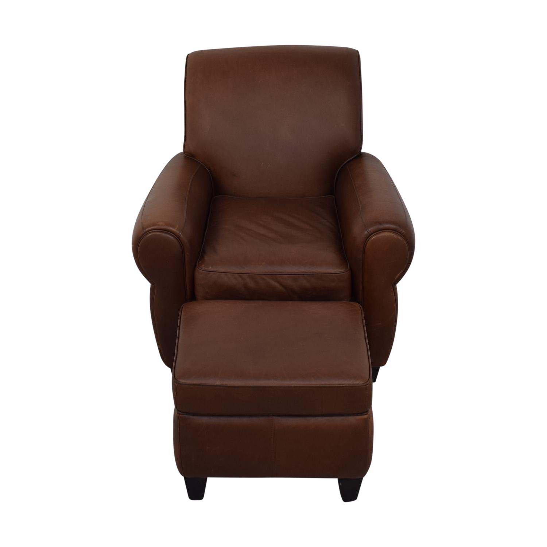 Ballard Designs Paris Cognac Chair and Ottoman sale