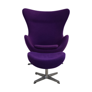 Orren Ellis Orren Ellis Deniela Purple Swivel Balloon Chair and Ottoman for sale
