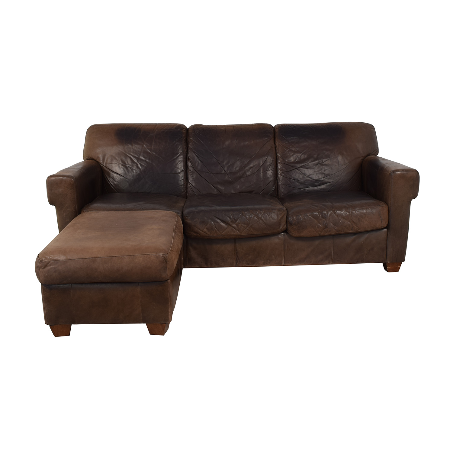 87% OFF - Distressed Leather Sofa with Ottoman / Sofas