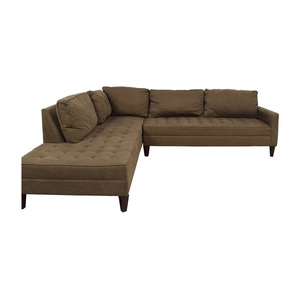 Z Gallerie Z Gallerie Brown Tufted Chaise L-Shaped Sectional dimensions