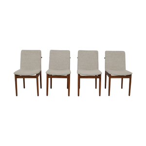West Elm West Elm Grey Framework Upholstered Dining Chairs coupon