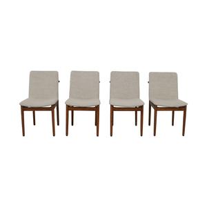 shop West Elm Grey Framework Upholstered Dining Chairs West Elm