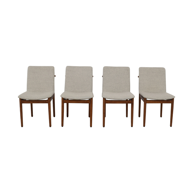 West Elm West Elm Grey Framework Upholstered Dining Chairs
