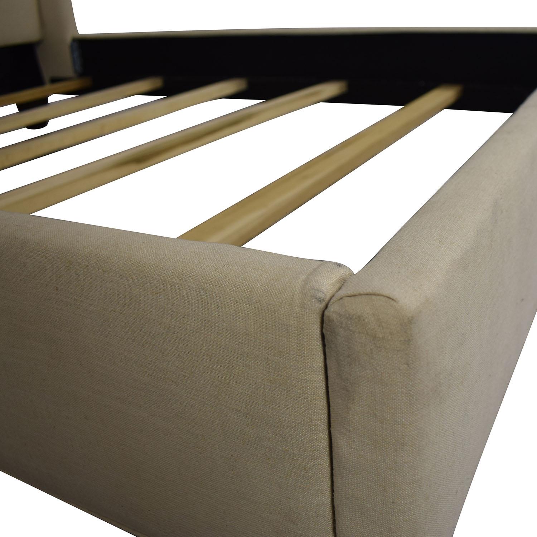 shop Stanford Furniture Kristin Creme Linen Upholstered Queen Bed Frame Stanford Furniture