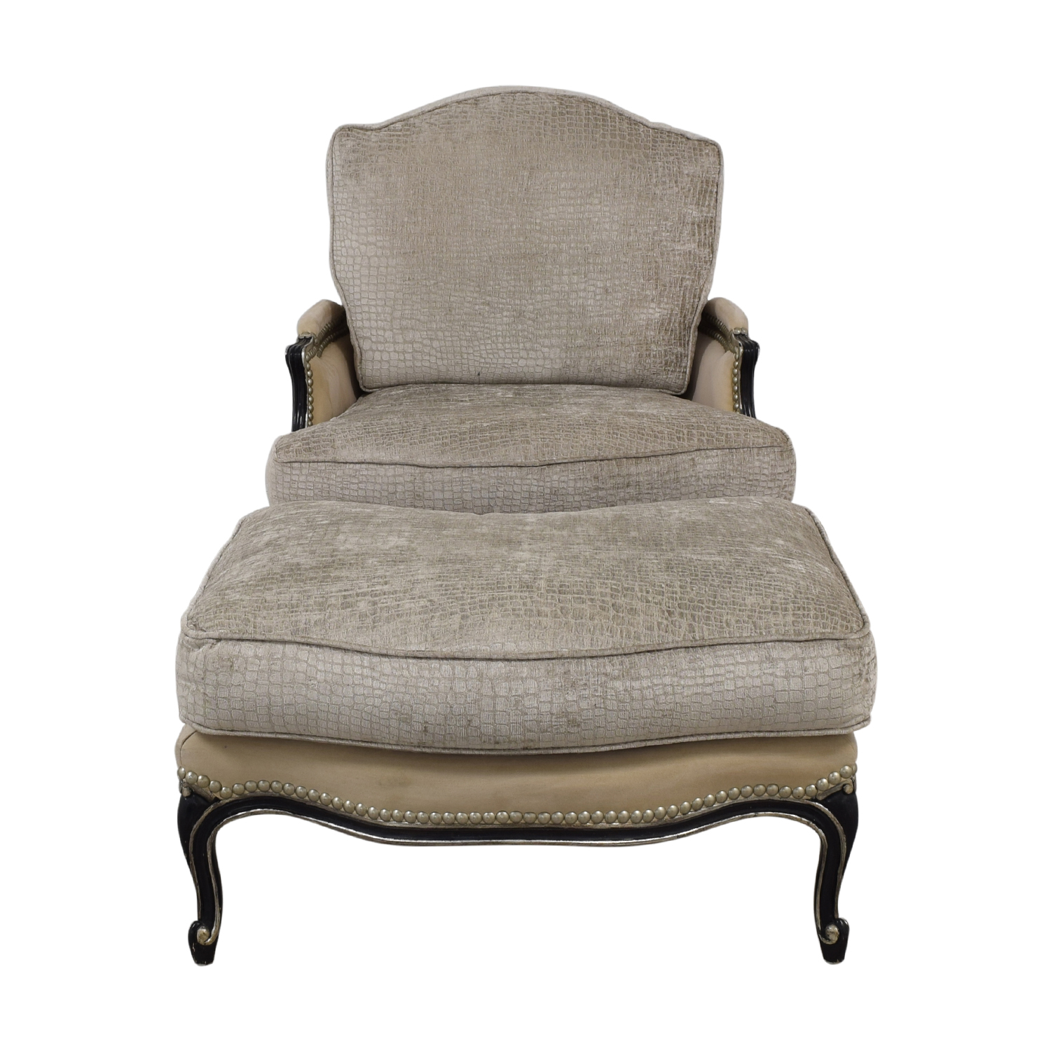 Century Furniture Custom Bergere Chair With Ottoman sale