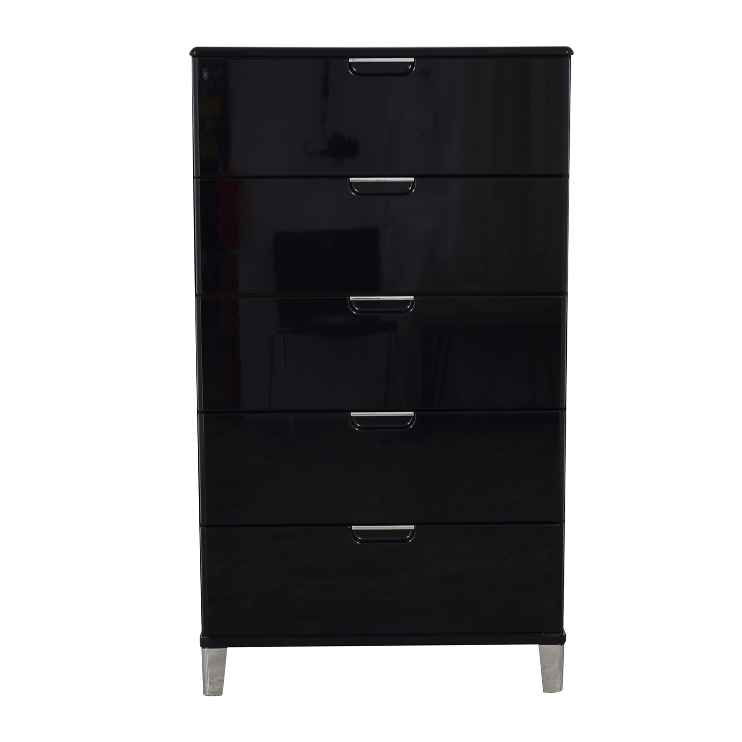 Ashley Furniture Black Lacquer Five-Drawer Tall Dresser Ashley Furniture
