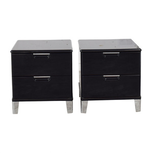 Ashley Furniture Ashley Furniture Black Lacquer Two-Drawer End Tables