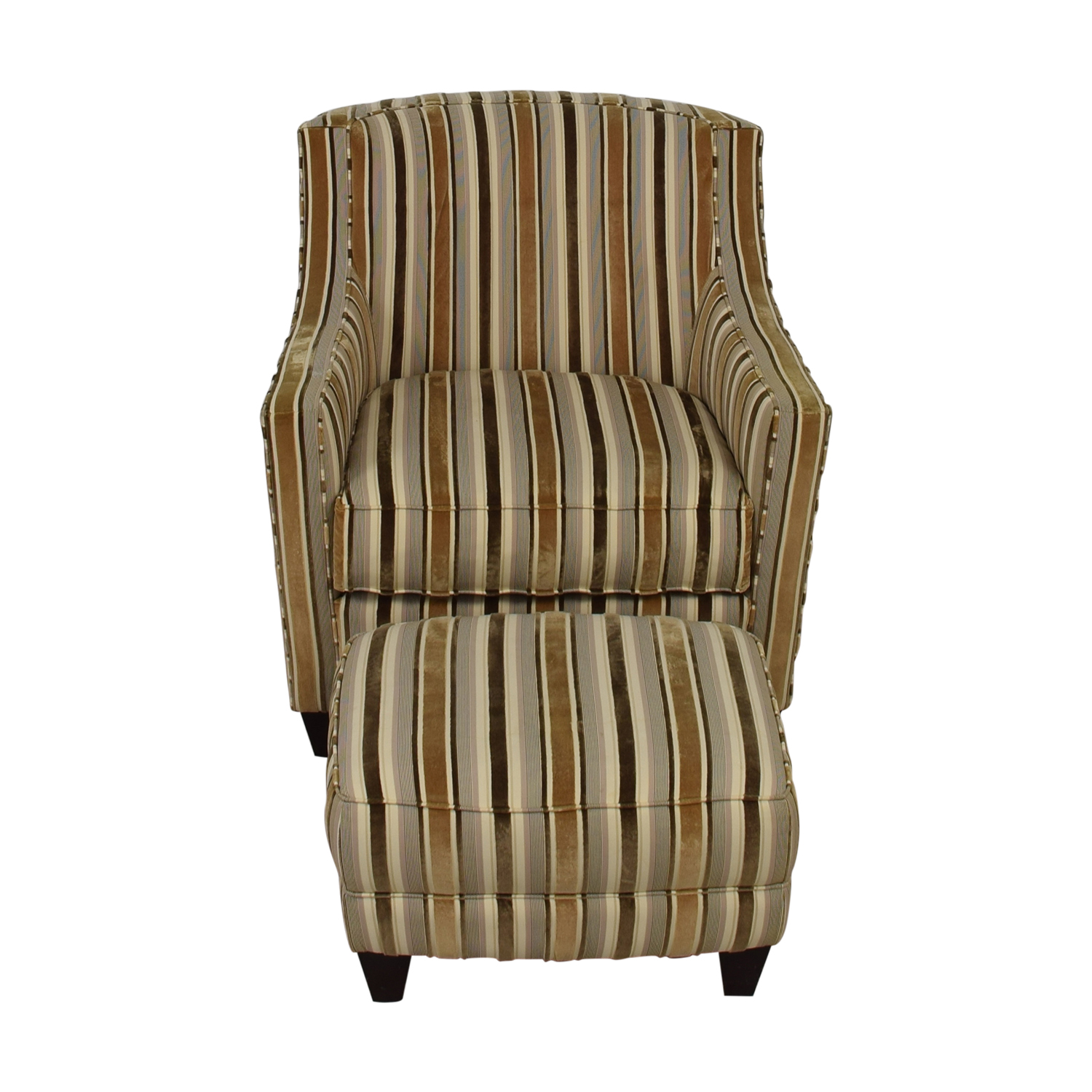 shop Robert Allen Beige and Brown Striped Accent Chair and Ottoman Robert Allen Chairs