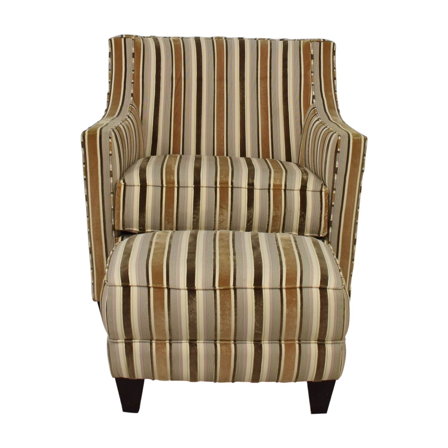 Robert Allen Robert Allen Beige and Brown Striped Accent Chair and Ottoman