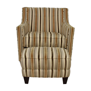 Robert Allen Robert Allen Beige and Brown Striped Accent Chair and Ottoman for sale