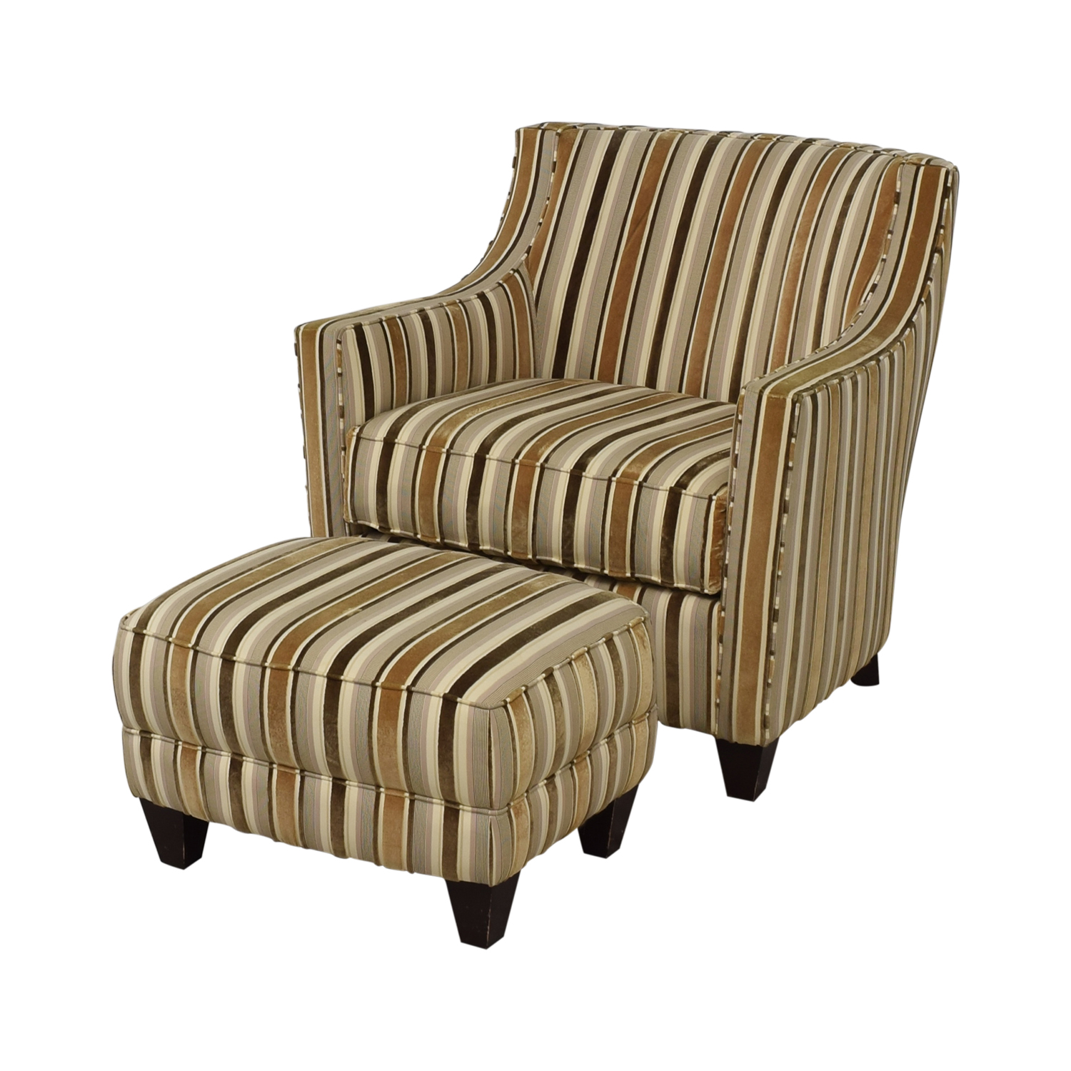 Robert Allen Robert Allen Beige and Brown Striped Accent Chair and Ottoman Chairs