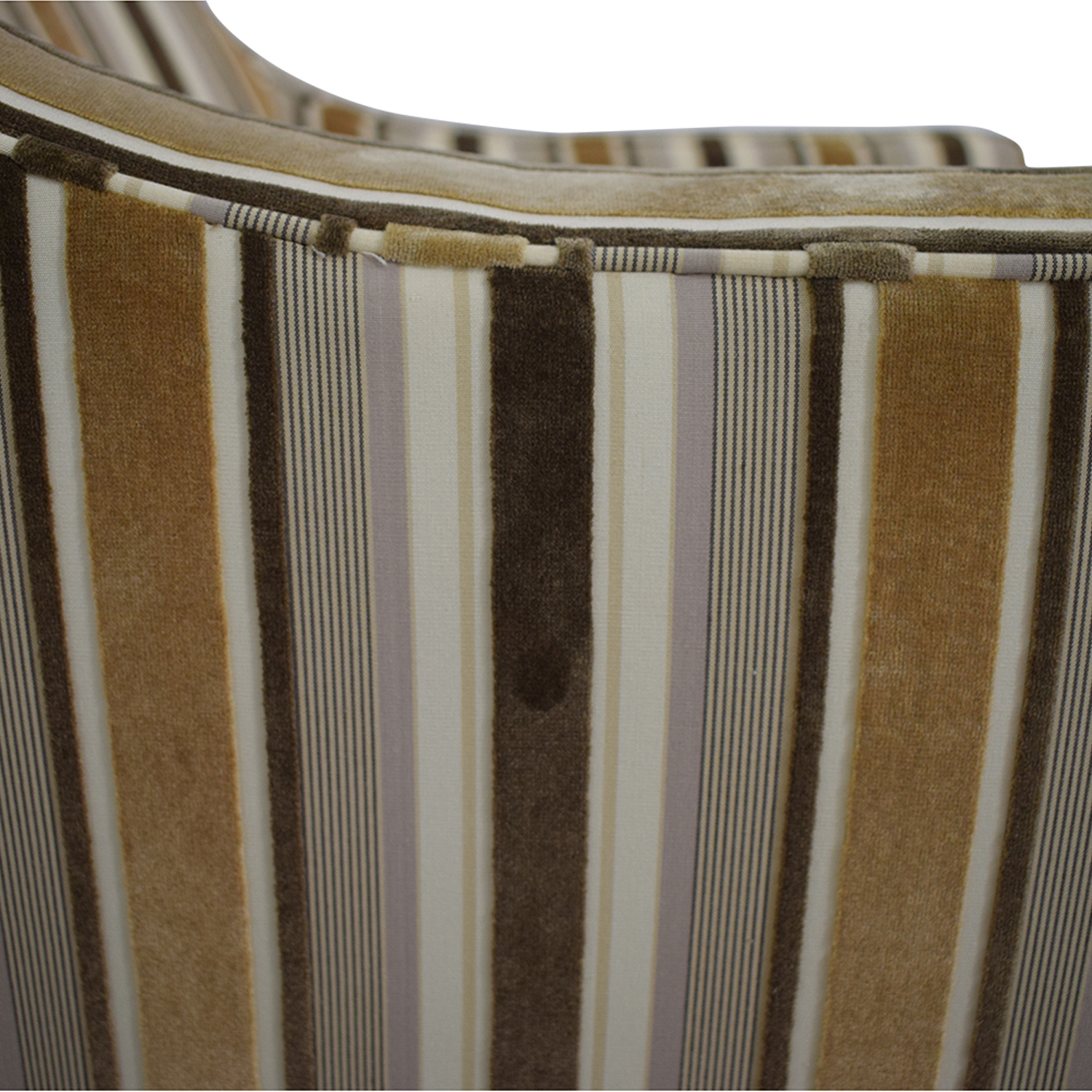 Robert Allen Robert Allen Beige and Brown Striped Accent Chair and Ottoman Multicolor