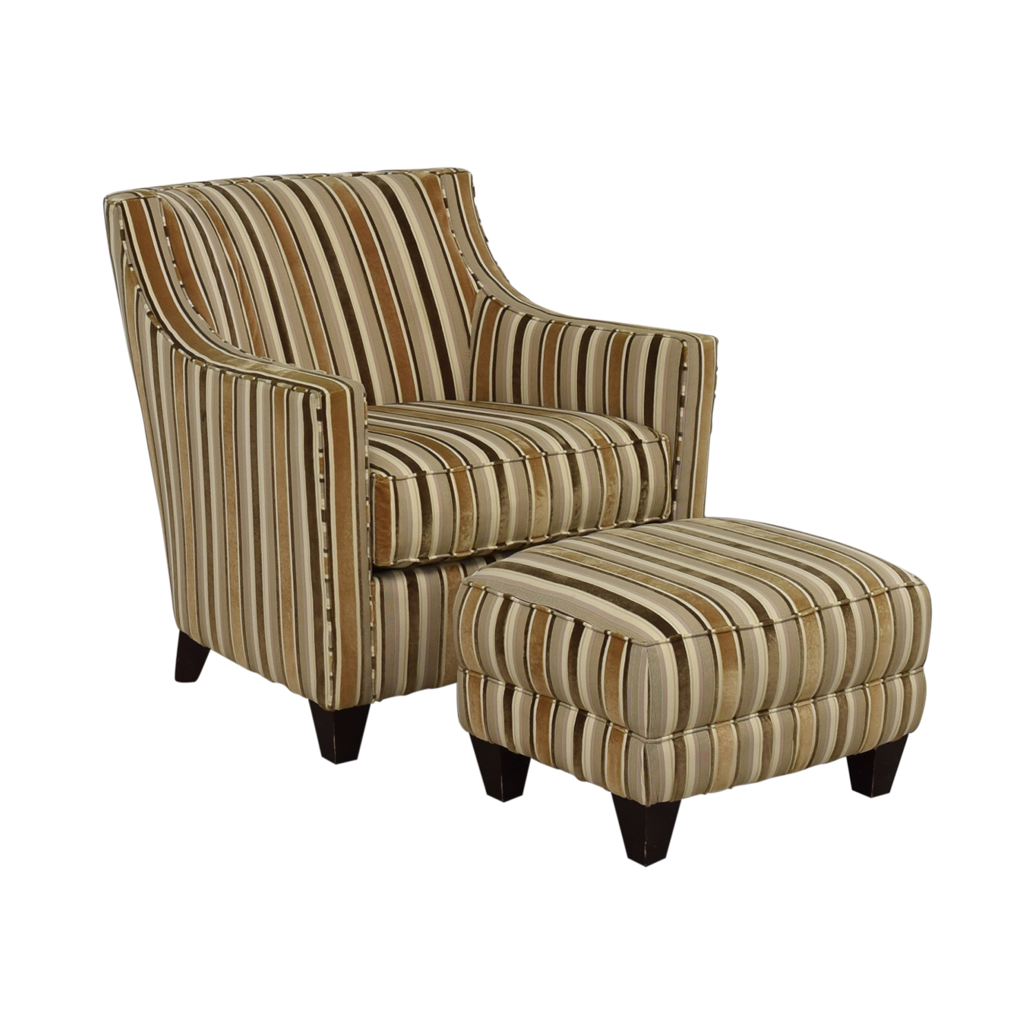 Robert Allen Robert Allen Beige and Brown Striped Accent Chair and Ottoman used