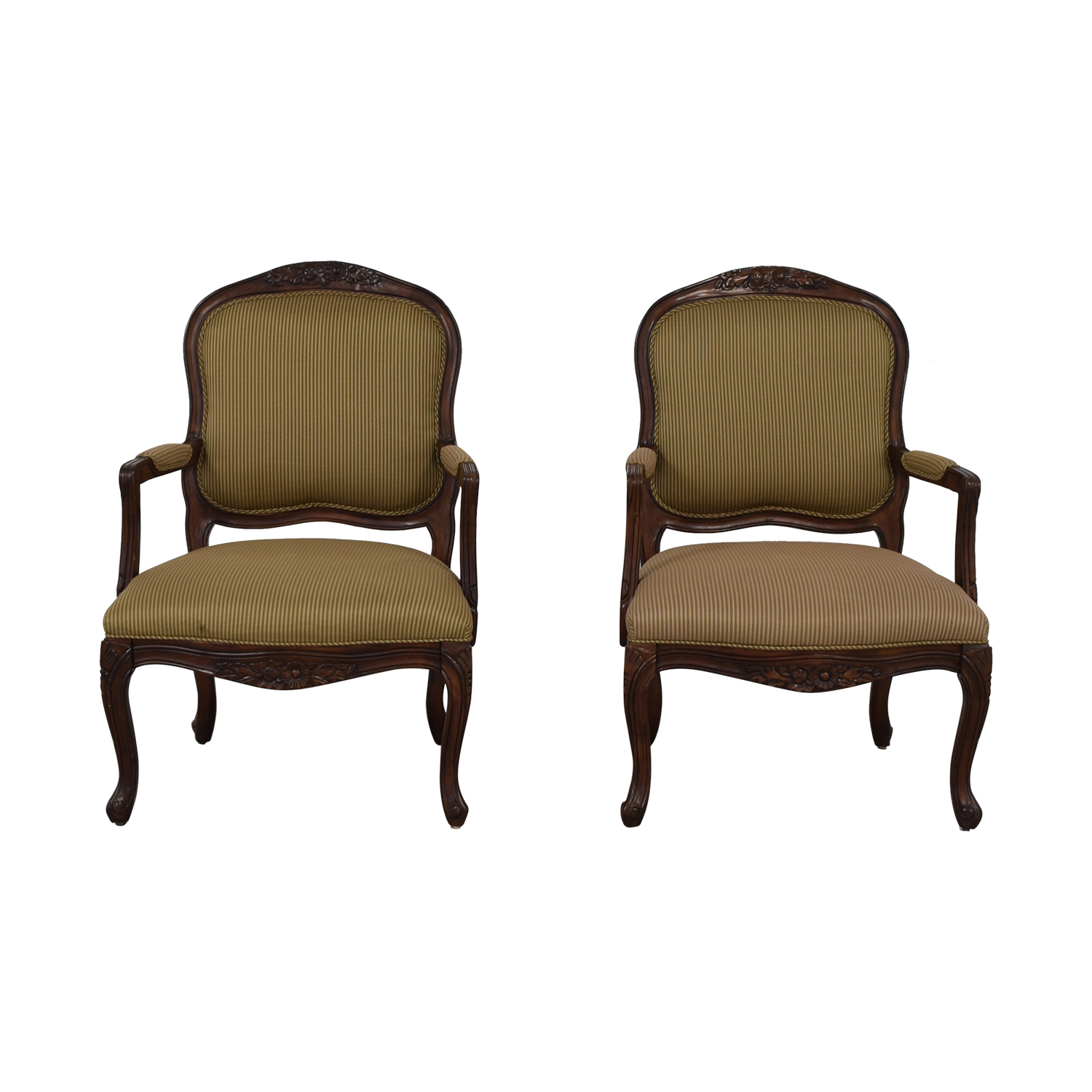Beige Striped Upholstered Arm Accent Chairs on sale
