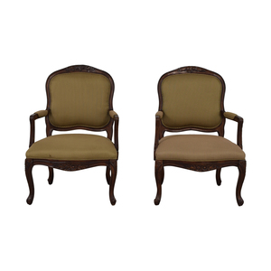 Beige Striped Upholstered Arm Accent Chairs sale
